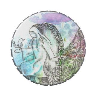 Ángel y pájaro del símbolo de Tarot Jarrones De Dulces