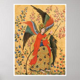 Ángel y poster de los pescados póster