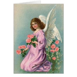 Ángel y rosas del vintage tarjeta de felicitación