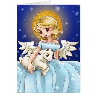 Ángel y tarjeta de Navidad del cordero