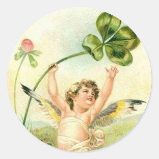 Ángel y trébol - pegatina del vintage
