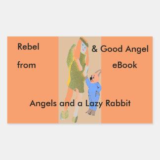 ángel y un pequeño conejo de eBooks Pegatina Rectangular