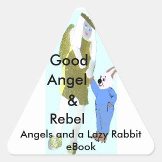 ángel y un pequeño conejo de eBooks Pegatina Triangular