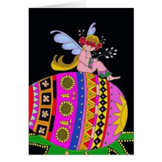 Ángel y un Pysanka arte popular ucraniano Tarjeton