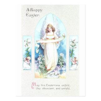 Ángel y vintage Pascua de la ventana de la iglesia Postales