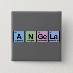 Square Button with Angela made of Elements design
