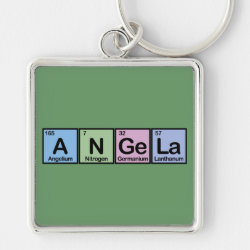 Premium Square Keychain with Angela made of Elements design