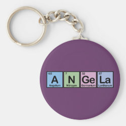 Basic Button Keychain with Angela made of Elements design