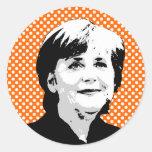 Angela Merkel Pegatina Redonda