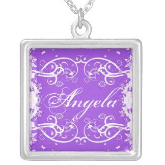 """Angela"" on purple flourish swirls necklace"
