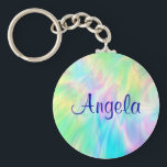 "Angela_Pastel Keychain<br><div class=""desc"">The name Angela in a blue font on a pastel abstract background.  Name and font can be changed,  if desired.</div>"
