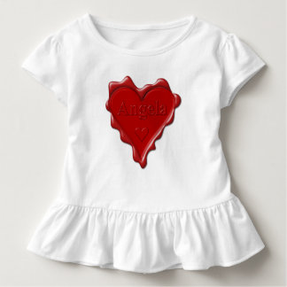 Angela. Red heart wax seal with name Angela Toddler T-shirt