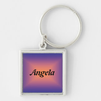 Angela Silver-Colored Square Keychain