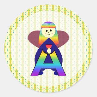 Angelbet Letter A Classic Round Sticker