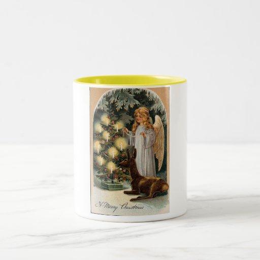Ángeles 3 del navidad taza de café