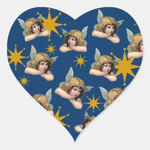 Ángeles adaptables y estrellas del vintage pegatina corazon personalizadas