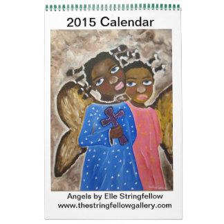 Ángeles afroamericanos del arte negro del calendario de pared