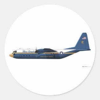 Ángeles azules de Lockheed C-130 Hércules azules Pegatina Redonda