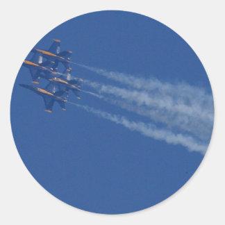 Ángeles azules de los aviones de reacciones etiquetas redondas