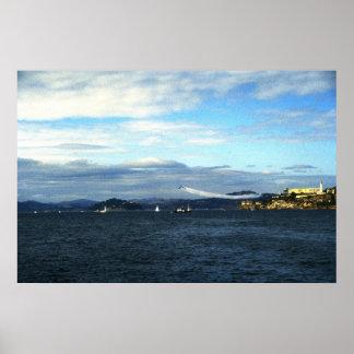Ángeles azules sobre Alcatraz y San Francisco Bay Póster