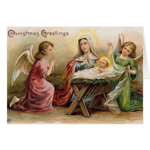 Ángeles con el bebé Jesús en la imagen del vintage Tarjeta De Felicitación