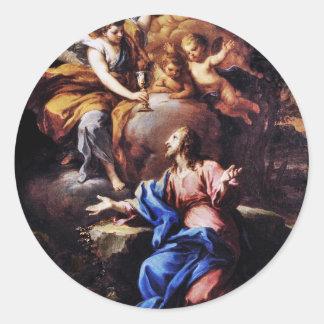 Ángeles con Jesús en jardín Pegatina Redonda