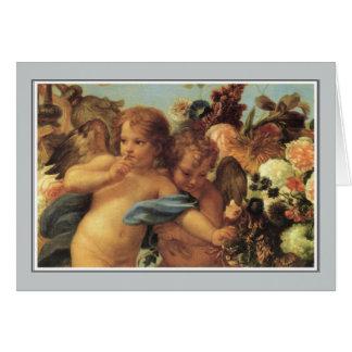 Ángeles, Cupids con una guirnalda de flores Tarjeta De Felicitación