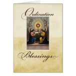 Ángeles de la enhorabuena de la ordenación en el a tarjetas
