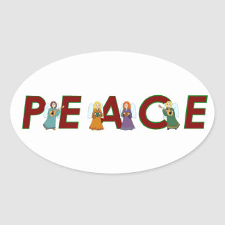 Ángeles de la paz pegatina ovalada