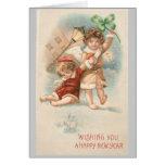 Ángeles de la tarjeta 2 del Año Nuevo del vintage