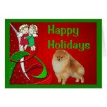 Ángeles de la tarjeta de Navidad de Pomeranian