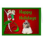 Ángeles de la tarjeta de Navidad de Shih Tzu peque