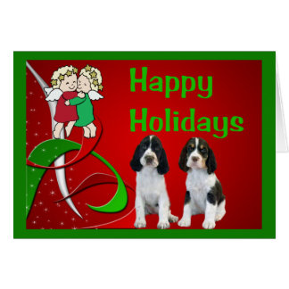 Ángeles de la tarjeta de Navidad del perro de agua