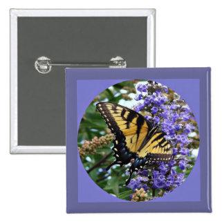 Ángeles de las naturalezas el botón de la mariposa pin cuadrado