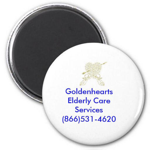 ángeles de oro, cuidado mayor Servic de Goldenhear Imán Redondo 5 Cm