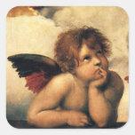 Ángeles de Sistine Madonna por Raphael, arte Pegatinas Cuadradases