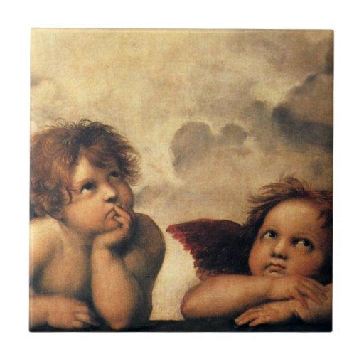 Ángeles de Sistine Madonna por Raphael, arte renac Azulejos