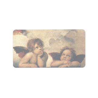 Ángeles de Sistine Madonna por Raphael, arte renac Etiquetas De Dirección