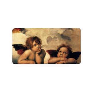 Ángeles de Sistine Madonna por Raphael arte renac Etiqueta De Dirección