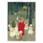 Ángeles del bosque del navidad felicitacion