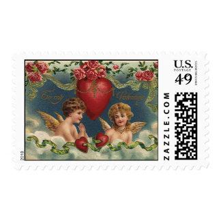 Ángeles del el día de San Valentín del Victorian Estampilla