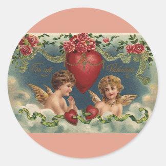 Ángeles del el día de San Valentín del Victorian Pegatina Redonda