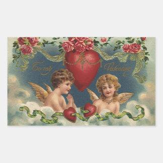 Ángeles del el día de San Valentín del Victorian Pegatina Rectangular