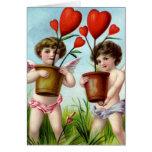 Ángeles del el día de San Valentín del vintage Tarjeton