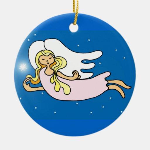 Ángeles del navidad adorno redondo de cerámica