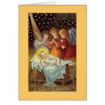 Ángeles del navidad de un Mery con el bebé Jesús Tarjeta