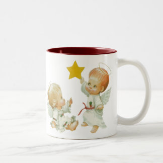 Ángeles del navidad del bebé taza de dos tonos