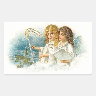 Ángeles del navidad del canto rectangular pegatinas