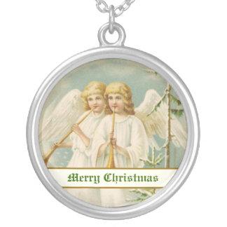 Ángeles del navidad del vintage con los bugles collar plateado