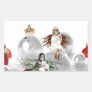 ángeles del navidad del vintage pegatina rectangular